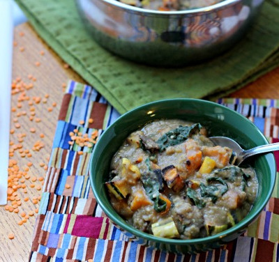 Vegan Lentil Stew with Roasted Squash and Kale