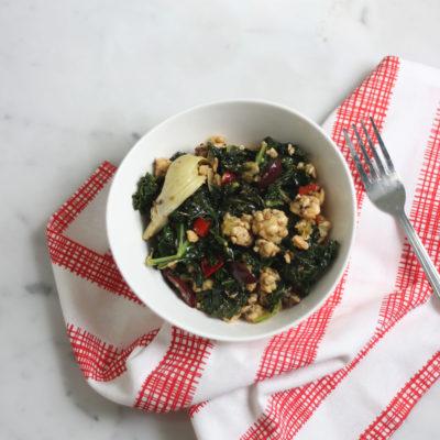 Italian Tempeh Kale Stir Fry