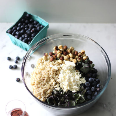 Blueberry, Hazelnut, and Feta Kale Salad