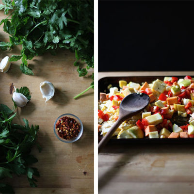 Simply Wholesome Bowl with Roasted Vegetables and Chimichurri