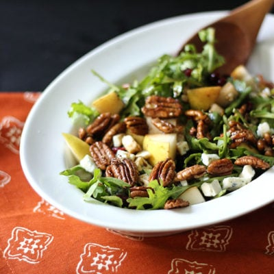 Pear, Arugula, and Balsamic Salad with Candied Pecans