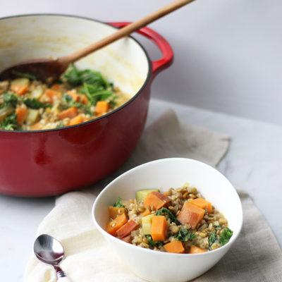 YumUniverse Sweet Potato, Kale, and Lentil Stew