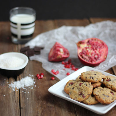 Pomegranate and Dark Chocolate Almond Flour Cookies