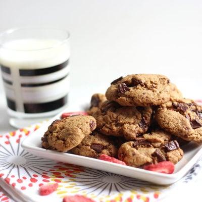 Whole Wheat Strawberry Dark Chocolate Cookies