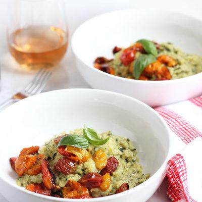 Pesto Spaghetti Squash with Roasted Tomatoes