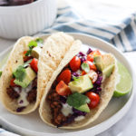 Lentil Tacos with spicy cheese sauce