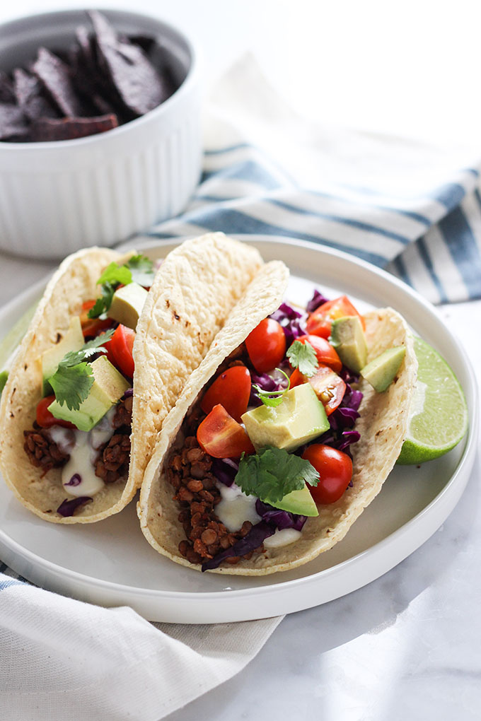 Lentil Tacos with Spicy Cheese Sauce | Dietitian Debbie Dishes