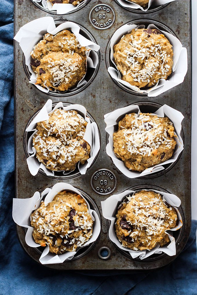 Vegan chocolate chip banana muffins with coconut in pan