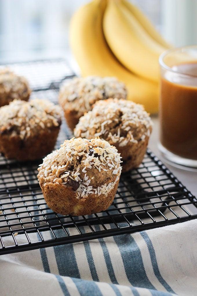 Coconut Banana Chocolate Chip Muffins | Vegan