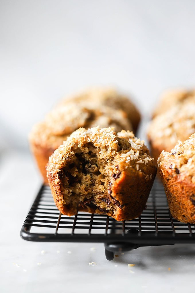 Vegan Coconut Chocolate Chip Banana Muffins