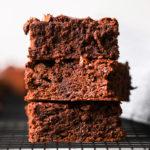 stacked vegan chocolate chip brownies