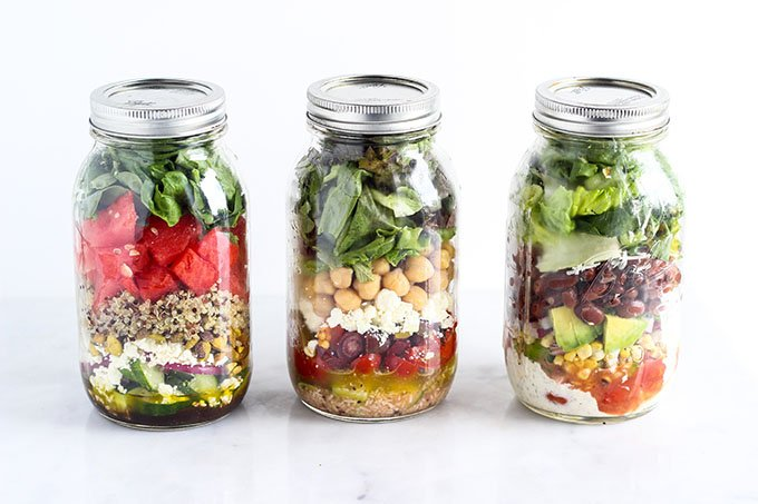 Salad In A Jar 3 Ways A Prettier Way To Eat Your Vegetables Dietitian Debbie Dishes