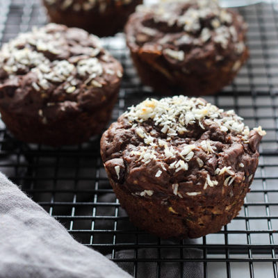 Vegan Double Chocolate Zucchini Muffins