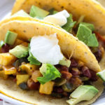 Cheesy Bean and Poblano Tacos | Super simple to make and vegetarian too!