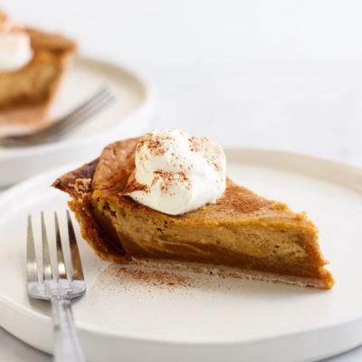 Vegan Pumpkin Pie with Cashew Cream Swirls