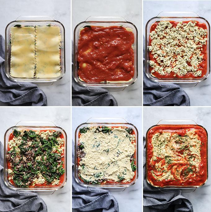 vegan mushroom and spinach lasagna process shots for layers