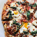 Spinach, Coconut Bacon, Egg Pizza