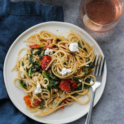 Burst Tomato and Spinach Pasta