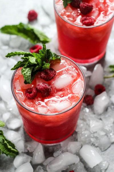 Ginger Raspberry Kombucha Cocktail