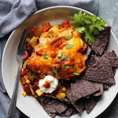 Vegetarian Slow Cooker Enchilada Casserole