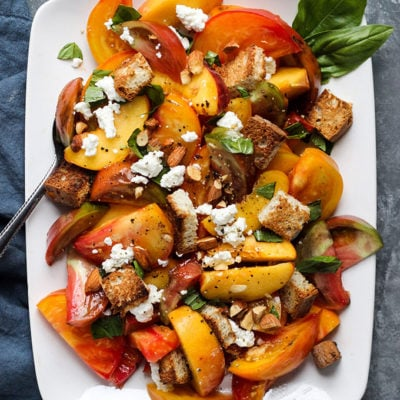 Peach and Tomato Panzanella Salad