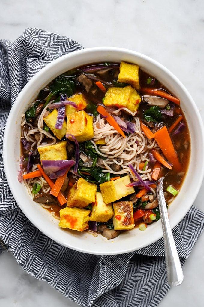 Vegan Ramen Soup with Crispy Tofu