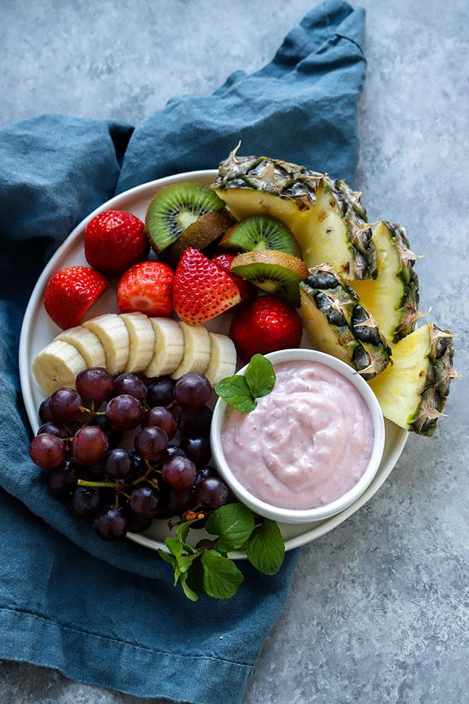 Healthy Strawberry Yogurt Fruit Dip | Dietitian Debbie Dishes