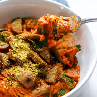Spaghetti Squash with Romesco Sauce