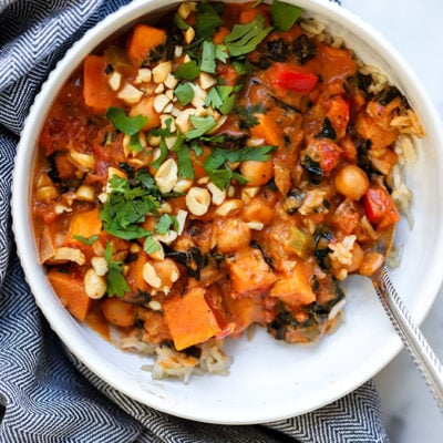Vegan Peanut Curry with Chickpeas and Sweet Potato