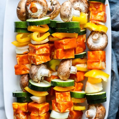Grilled Tofu Kebabs with Red Pepper Sauce