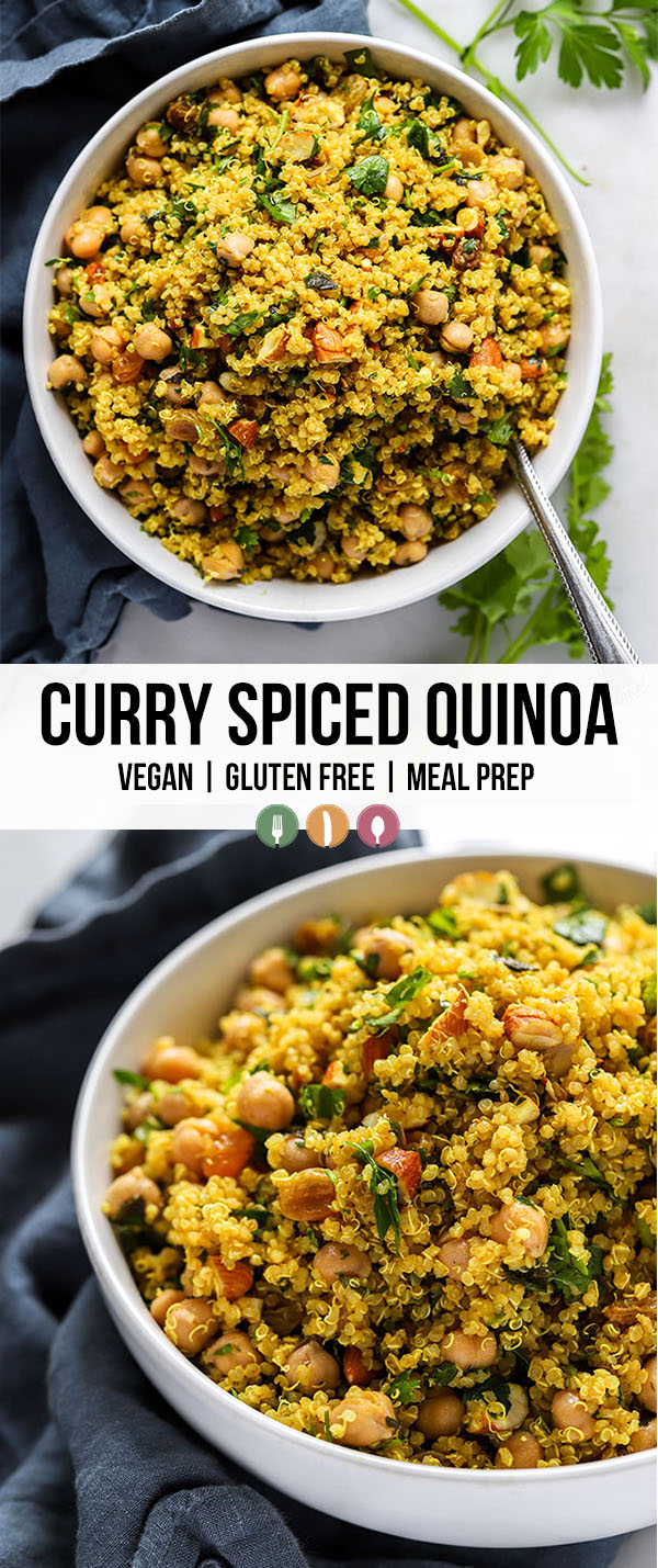 simple curry spiced quinoa in white bowl