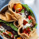 Roasted Eggplant and Pepper Pita Sandwich | The vegetarian sandwich is stuffed full of flavor!
