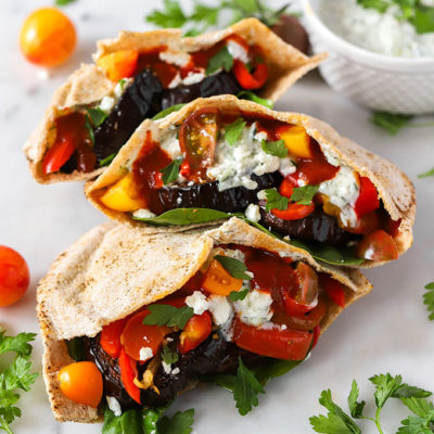 Roasted Eggplant and Pepper Pita Sandwich