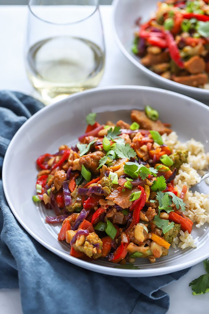 Vegan Cashew Chicken Stir Fry Dietitian Debbie Dishes