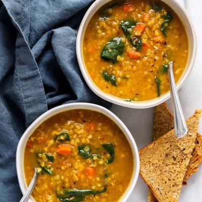 One Pot Red Lentil Pumpkin Soup