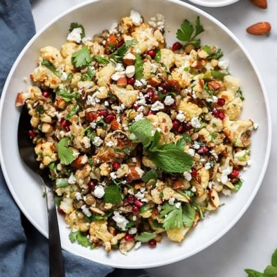 Roasted Cauliflower, Feta, and Lentil Salad