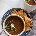 black bean soup with chips