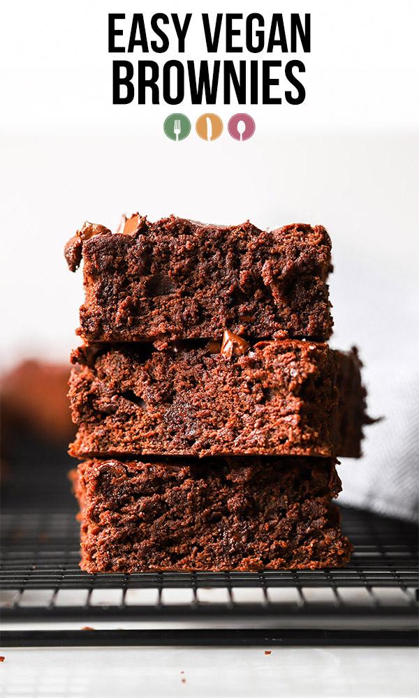 stacked easy vegan brownies