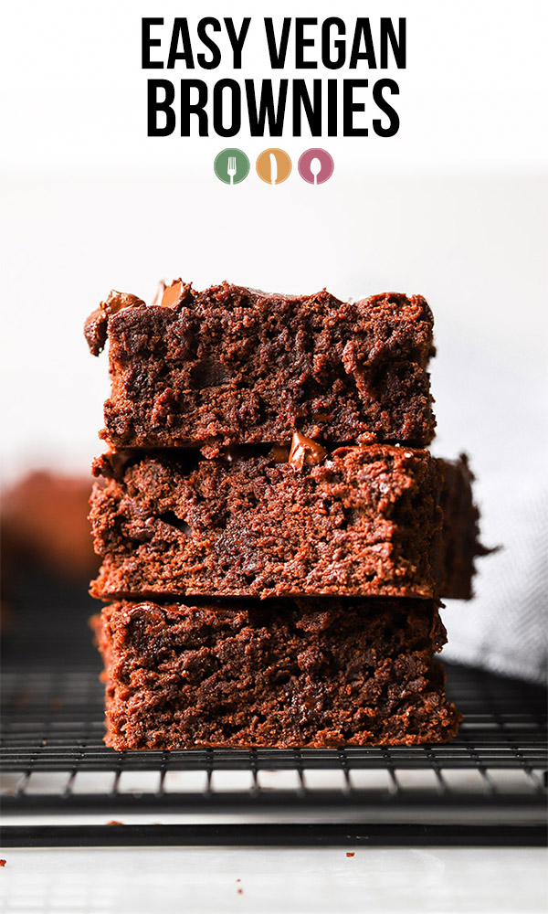 stacked easy vegan brownies