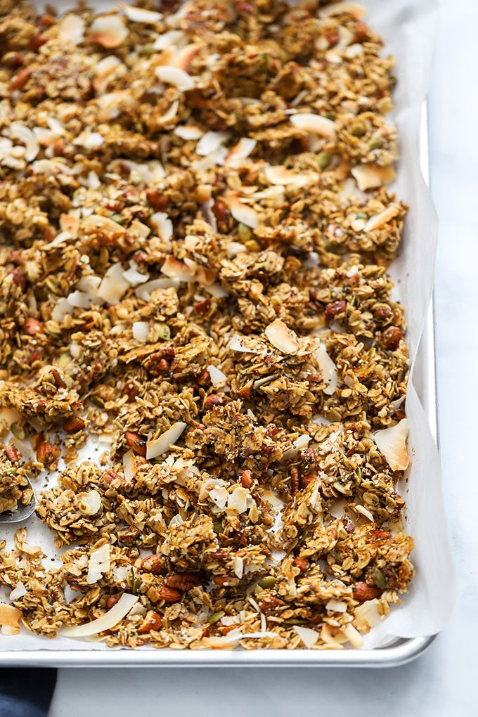 healthy super seedy granola on sheet pan