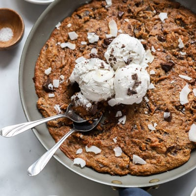 Peanut butter chocolate chip cookie skillet with ice cream