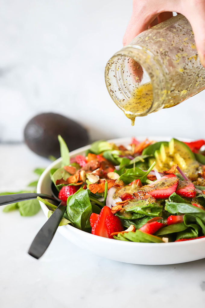 Vegan strawberry spinach salad with lemon poppyseed dressing