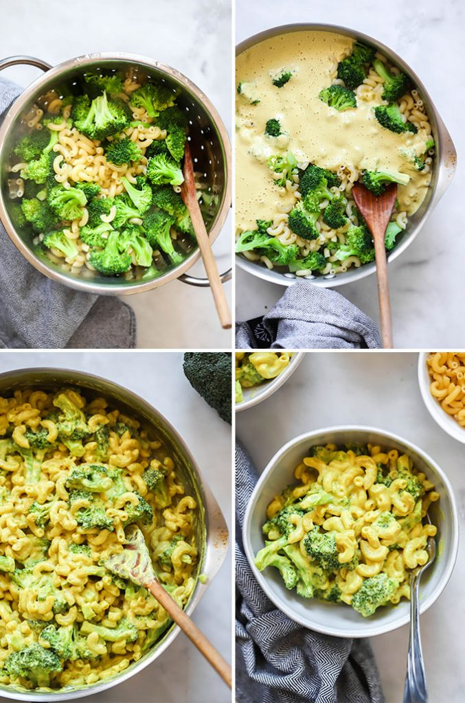 vegan macaroni and cheese with broccoli process photos