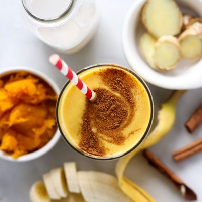 pumpkin smoothie with cinnamon swirl