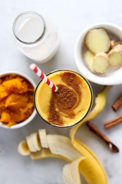 pumpkin smoothie with cinnamon swirl