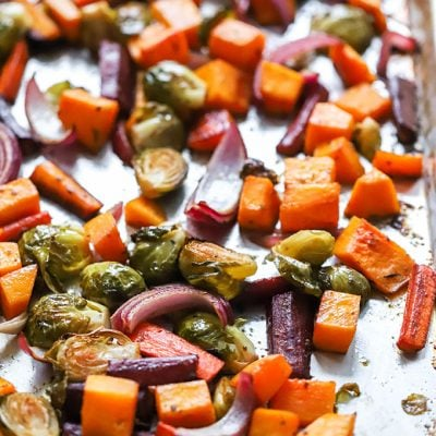 balsamic herb roasted vegetables on sheet pan