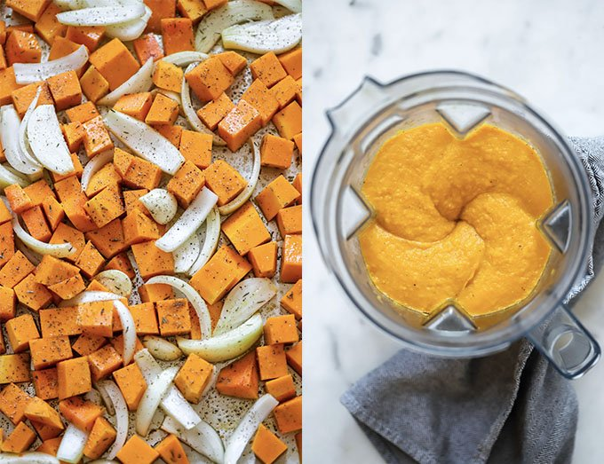 two images: roasted butternut squash and onion on left, pureed soup in blender on right