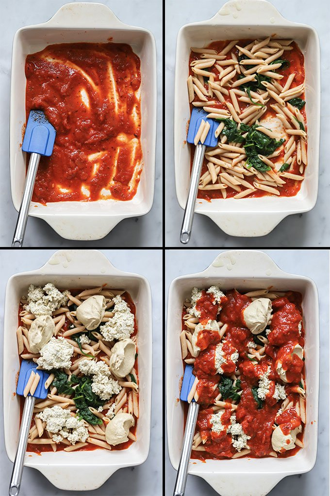 vegan baked ziti process shots