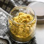Close up easy vegan parmesan in jar