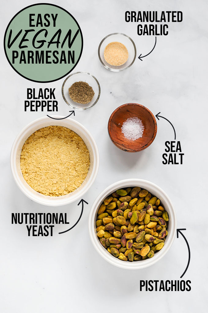 vegan parmesan ingredients labeled with text and arrows
